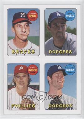 2013 Topps Archives 1969 4-In-1 Stickers #69S-SKCK - Warren Spahn, Clayton Kershaw, Sandy Koufax, Steve Carlton
