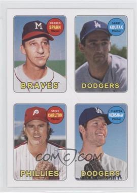 2013 Topps Archives 1969 4-In-1 Stickers #69S-SKCK - Warren Spahn, Starlin Castro, Clayton Kershaw, Sandy Koufax