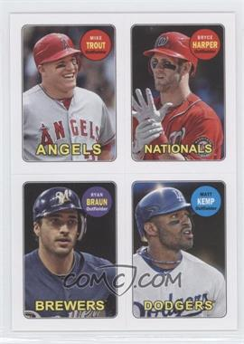 2013 Topps Archives 1969 4-In-1 Stickers #69S-THBK - Mike Trout, Bryce Harper, Ryan Braun, Matt Kemp