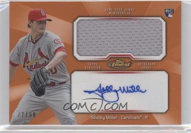 2013 Topps Finest Autographed Jumbo Relic Rookies Orange Refractor [Autographed] #AJR-SM - Shelby Miller /99