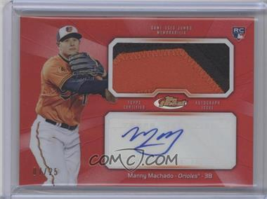 2013 Topps Finest Autographed Jumbo Relic Rookies Red Refractor [Autographed] #AJR-MM - Manny Machado /25