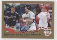 2012 NL Home Run Leaders (Ryan Braun, Giancarlo Stanton, Jay Bruce) /2013