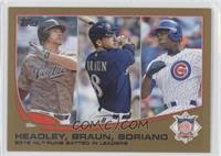 2012 NL Runs Batted In Leaders (Chase Headley, Ryan Braun, Alfonso Soriano) /20…