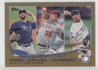 2012 AL Wins Leaders (David Price, Jered Weaver, Matt Harrison) /2013