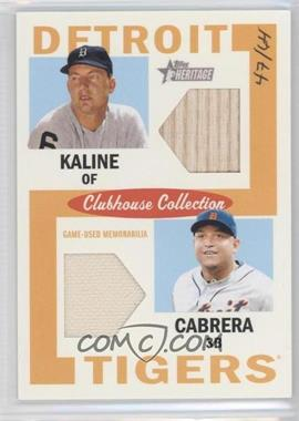 2013 Topps Heritage - Clubhouse Collection Dual Relics #CCDR-KC - Al Kaline, Miguel Cabrera /64