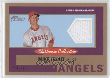 2013 Topps Heritage - Clubhouse Collection Relics - Gold #CCR-MT - Mike Trout /99