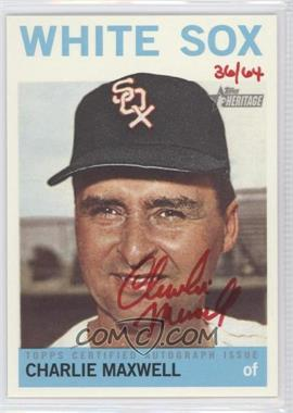 2013 Topps Heritage - Real One Certified Autographs - Red Ink #ROA-CM - Charlie Maxwell /64