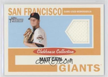 2013 Topps Heritage Clubhouse Collection Relics #CCR-MC - Matt Cain