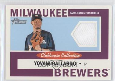 2013 Topps Heritage Clubhouse Collection Relics #CCR-YG - Yovani Gallardo