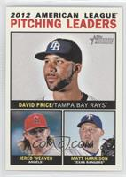 2012 American League Pitching Leaders (David Price, Jered Weaver, Matt Harrison)
