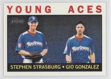 2013 Topps Heritage #219 - Young Aces (Stephen Strasburg, Gio Gonzalez)