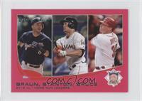 2012 NL Home Run Leaders (Ryan Braun, Giancarlo Stanton, Jay Bruce) /25