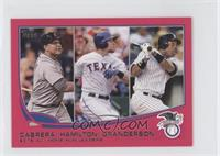 2012 AL Home Run Leaders (Miguel Cabrera, Josh Hamilton, Curtis Granderson) /25