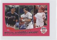 2012 NL Home Run Leaders (Ryan Braun, Giancarlo Stanton, Jay Bruce) /25