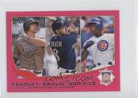 2012 NL Runs Batted In Leaders (Chase Headley, Ryan Braun, Alfonso Soriano) /25