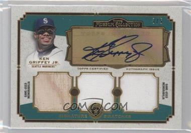 2013 Topps Museum Collection Signature Swatches Triple Relics Autographs Gold Rainbow #SSATR-KG - Ken Griffey Jr. /5
