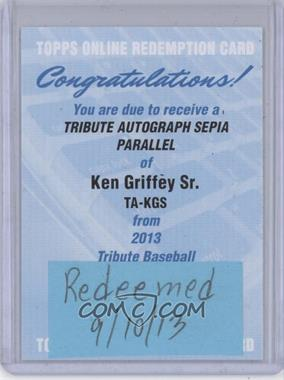 2013 Topps Tribute Certified Autograph Issue Sepia [Autographed] #TA-KGS - Ken Griffey /35 [REDEMPTION Being Redeemed]