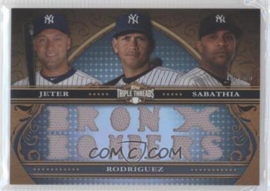 2013 Topps Triple Threads Relic Combos #TTRC-JRS - Derek Jeter, Alex Rodriguez, C.C. Sabathia /36