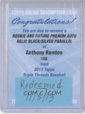2013 Topps Triple Threads Rookie and Future Phenom Autographed Relics Black Silver Ink #156 - Anthony Rendon /25 [REDEMPTIONBeingRedeemed]