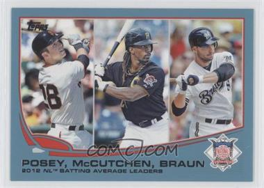 2013 Topps Wal-Mart Blue #189 - 2012 NL Batting Average Leaders (Buster Posey, Andrew McCutchen, Ryan Braun)
