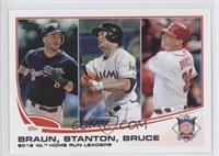 2012 NL Home Run Leaders (Ryan Braun, Giancarlo Stanton, Jay Bruce)
