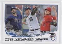 2012 AL Earned Run Average Leaders (David Price, Justin Verlander, Jered Weaver)