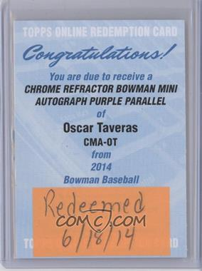 2014 Bowman Bowman Scout Top 5 Prospects Mini Chrome Autographs Purple Refractors [Autographed] #CMA-OT - Oscar Taveras /50 [REDEMPTION Being Redeemed]
