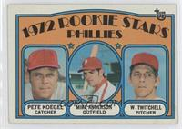 Phillies Rookie Stars (Pete Koegel, Mike Anderson, Wayne Twitchell) [Good …