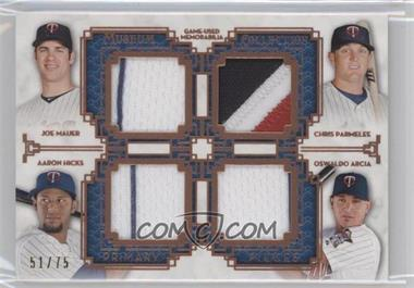 2014 Topps Museum Collection Four-Player Primary Pieces Quad Relics Copper #PPFQR-18 - Joe Mauer, Chris Parmelee, Aaron Hicks, Oswaldo Arcia /75