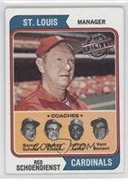 Red Schoendienst, Barney Schultz, George Kissell, Johnny Lewis, Vern Benson