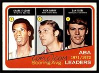 1971-72 ABA Scoring Avg. Leaders (Charlie Scott, Rick Barry, Dan Issel) [VG]