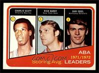 1971-72 ABA Scoring Avg. Leaders (Charlie Scott, Rick Barry, Dan Issel) [EX&nbs…