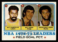 Field Goal Pct Leaders (Wilt Chamberlain, Matt Guokas, Kareem Abdul-Jabbar) [EX…