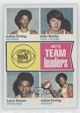 1974-75 Topps #226 - New York Nets Team Leaders (Julius Erving, John Roche, Larry Kenon)
