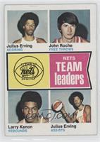 New York Nets Team Leaders (Julius Erving, John Roche, Larry Kenon)