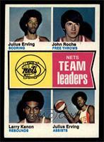 New York Nets Team Leaders (Julius Erving, John Roche, Larry Kenon) [EXMT]