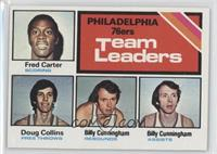 Philadelphia 76ers Team Leaders (Fred Carter, Doug Collins, Billy Cunningham)