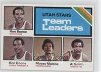 Utah Stars Team Leaders (Ron Boone, Moses Malone, Al Smith)
