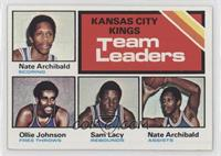 Kansas City Kings Team Leaders (Ollie Johnson, Sam Lacey, Nate Archibald) [Good…