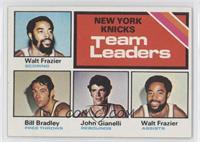 New York Knicks Team Leaders (Walt Frazier, Bill Bradley, John Gianelli)