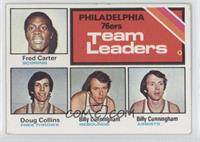 Philadelphia 76ers Team Leaders (Fred Carter, Doug Collins, Billy Cunningham)