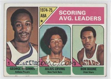 1975-76 Topps #221 - Scoring Avg. Leaders (George McGinnis, Julius Erving, Ron Boone) [GoodtoVG‑EX]