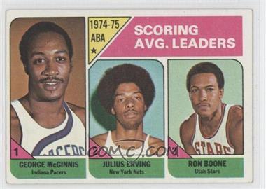 1975-76 Topps #221 - Scoring Avg. Leaders (George McGinnis, Julius Erving, Ron Boone)