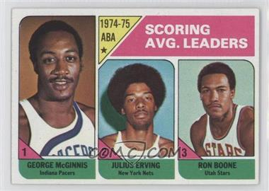 1975-76 Topps #221 - Scoring Avg. Leaders (George McGinnis, Julius Erving, Ron Boone)