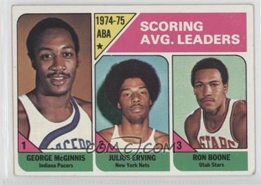 1975-76 Topps #221 - Scoring Avg. Leaders (George McGinnis, Julius Erving, Ron Boone) [Good to VG‑EX]