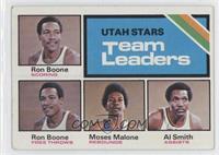 Utah Stars Team Leaders (Ron Boone, Moses Malone, Al Smith) [Goodto…