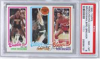 Junior Bridgeman, Larry Bird, Ron Brewer [PSA 8]