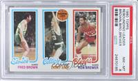 Fred Brown, Larry Bird, Ron Brewer [PSA 8]