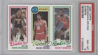 Junior Bridgeman, Julius Erving, Ricky Sobers [PSA 8]