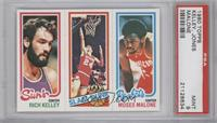 Rich Kelley, Bobby Jones, Moses Malone [PSA 9]
